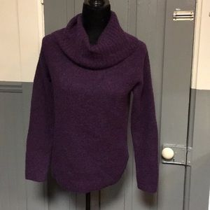 L.L. Bean Marbled Purple Wool Cowl Neck Sweater